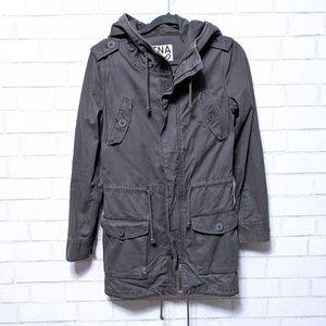 Aritzia TNA Gray Field Cargo Hooded Jacket X-Small